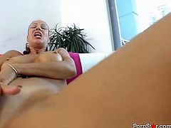 This cougar looks absolutely perfect. She has curves in all the right places. She masturbates in front of her lover. Then she gives him some nice deepthroat.
