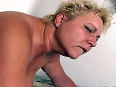 Big momma with fat juggs rides her skinny stud in cowgirl pose ordering him to suck her big boobs. Dude fucks that dirty hairy snatch doggystyle making fat hoe squirt all over the bed.