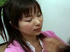 Mana Iizuka gives hard cock some hadjob. Watch as she gives her man the sucking of his life. She does not rush her job, she savors every inch of his throbbing member.
