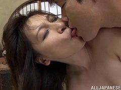 A slim Japanese MILF gets her small tits and a pussy licked. Then Yuuri gives head and gets fucked on a floor.
