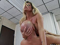 Light haired filthy cougar with big round boobs lied on table and watched her hungry bald man licking and fucking her dumpy pussy in mish style. Have a look at that steamy sex in Brazzers Network sex video!