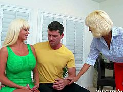 Mature Tara Holiday is a sex pro who teaches Preston Parker how to seduce gorgeous women like big titted bombshell Nikita Von James. Soon he finds his hard fat dick handled by two passionate big racked milfs.