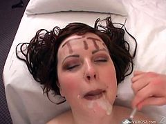 Sexy Vida Sadora enjoys sucking a big hard cock and ends up getting her cute face and her big natural tits covered with cum.