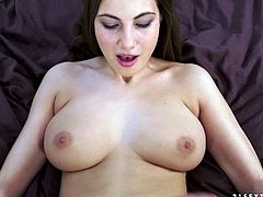 Prepare your cock for this brunette babe, with huge love pillows wearing a cute bra, while she goes hardcore with a horny man in a POV video.