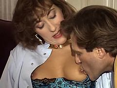 Titless hottie in stocking blows sweet lollicock of that thirsting guy and gets her pussy fingerfucked by that mature lusty slut. Look at that steamy FFM fuck in The Classic Porn sex clip!