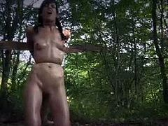 Watch this hot BDSM scene with Elise Graves with PD, where she goes for a trip to the farm.But this farm trip soon turn out into a bondage experience for her.See how she is treated like a piece of a meat.Submissive Elise Graves gets tied up and toyed deeply in forest.