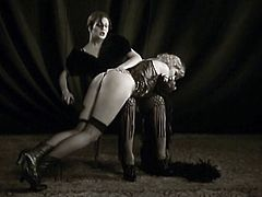 Slutty blonde bimbo gets her ass spanked hard by her mistress