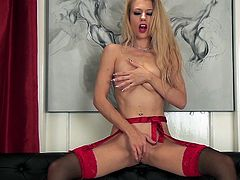 Watch the beautiful Michelle Moist in sensual lingerie in this solo scene where she plays with her pink cunt.