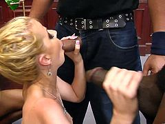 The amazing Anita Blue gets pulled over by the police and ends up taking some huge black cocks up her ass and pussy in a furious gangbang.