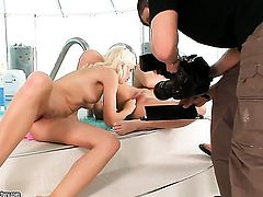 Brunette Sonia Red groans as she fucks herself with dildo