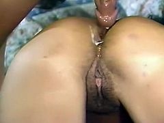 Raven haired hot bitch got her lovely anus attacked in doggy pose hard