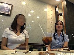 Two Asian girls drink some ice tea or lemonade. After that they have a sensual lesbian sex. These Japanese beauties lick and finger each others shaved pussies.