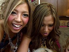 I bet you love to have around beautiful ladies who like to play dirty games. This guy´s lucky to be spoiled by a group of sexy Japanese babes. The girls wear pretty hairstyles, makeup and polished long nails. Each of them carefully takes care of a big cock, taking turns to suck it. Welcome to the party