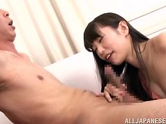 A pretty Japanese girl with small tits gives a blowjob to some nerdy guy. Then Minami gets her nipples licked and shaved pussy fucked from behind.