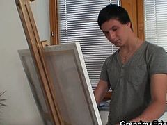 These young painters asked for a nude model and an attractive granny showed up. They started jerking off their dicks and finally spit roasted her old holes.