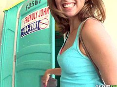 Riley Reed is a sweet girl. She goes in a public toilet to suck cock, but she doesn't continue there. She gets fucked in a more comfortable place and jizzed.