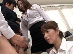 Make sure you have a look at this hot scene where these Asian babe and guys have a group sex in the middle of the office.