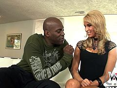blonde hottie sucks a huge black penis