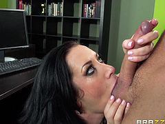 Have a look at this great hardcore scene where the busty Jayden Jaymes is fucked silly by this guy in her office until her cums all over her tits.