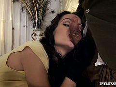 Torrid brunette bitch gives deepthroat blowjob. Oversexed bitch takes solid dick in her tight butt hole from behind. Check out this hardcore anal fuck scene that is presented by Private studio.