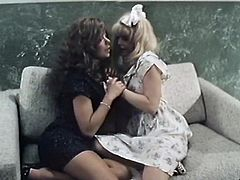 Dark haired torrid tramp and her light haired kinky kooky provided one another with nice cunnilingus until horny brutal freak came to fuck them. Take a look at that steamy lesbian sex in The Classic Porn sex clip!