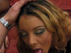 Submissive girls are giving head to the guards. They work their mouth lips enthusiastically. Horny dudes are impressed with their cock sucking skills.
