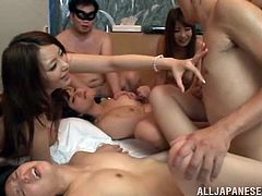 Be part of these group sex where Asian babes, with natural boobs and nice butts, go hardcore with several fellows in a dirty bedroom.