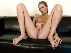 Angie penetrates her tight pink pussy with her soft delicate fingers in this solo scene where her moans will give you a boner.