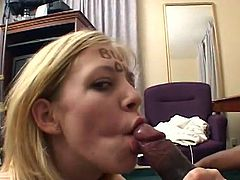 Be part of this clip where a blonde babe, with natural boobs and a nice ass, while she goes hardcore with a chocolate dude and moans loudly.