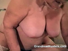 Grandmas Hunters brings you a hell of a free porn video where you can see how a chubby granny rides her young man's cock into heaven while assuming very hot poses.