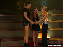 Lustful girls with filthy sex fantasies get naughty in Private sex video. Classy MILF is watching steamy private show. This turns into exciting FFM threesome action.