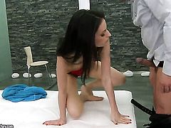 Brunette Ann Marie La Sante gagging on dudes erect fuck stick