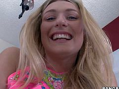 Natalia Starr is a shameless young blonde with big natural tits and big ass. She shows her assets with smile on her face. She removes her panties and shows her clean pink pussy in closeup.