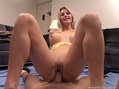 Check out this hot POV where this horny blonde sucks on this guy's thick cock before riding it as you get a load of her great body.