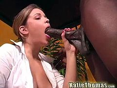 Horny brunette bitch Katie Thomas is ready for some hardcore drilling by the huge cock of Byron Long. She begs him to fuck her pussy hard in the piledriver.