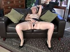 This mature mom Penny shares her absolute first time doing naughty things on video as she strips and fingers her moist hairy pussy to experience a deep orgasm.