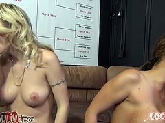 Thick milfie with huge boobs Ava Devine and slutty blonde girl Natasha Starr wanna find out who's the best deepthroater. Ava easily takes massive dick up her throat balls deep while Natasha fits only half of long dick in her mouth.