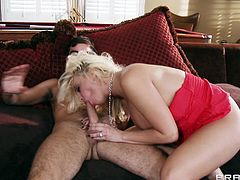 Check out this hardcore scene where the busty blonde Britney Amber ends up with her face and titties covered by semen after being fucked by a guy.