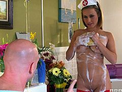 Sexy porn star Kennedy Leigh, wearing a nurse uniform, is getting naughty with Johnny Sins in the hospital. She gives a blowjob to the man, then they fuck in the cowgirl, the missionary and the standing positions.