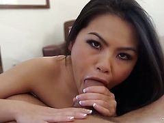 Sex appeal Asian babe with jaw dropping ass demonstrates deepthroat talent. She stimulates her muff and teases you with big ass and gives eager blowjob.