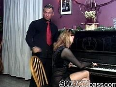 This busty girl prefers to suck dicks instead of playing the piano. So, Simony drops to her knees and gives a passionate blowjob.