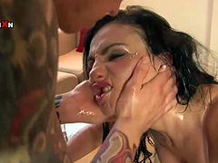 This chick needs a good pussy workout and her kinky lover is here to pound her oiled pussy. He fucks her mercilessly in and out loosening up her once tight hole.