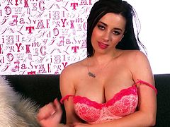 Busty blonde Taylor Vixen, wearing lingerie, is playing dirty games indoors. She fondles herself ardently, then spreads her legs wide open and entertains herself by fucking her vagina with a dildo.