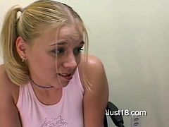 Make sure you see this! A blonde babe in pigtails, with big knockers and a nice ass, while she goes hardcore and moans like a wild animal!