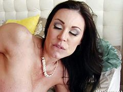 Big ass mom Kendra Lust in yellow summer dress sucks boys stiff dick in the middle of the bed with her bottom up. Then she takes his dick in her vagina. She bounces on his sturdy dick like crazy!
