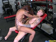 Fit ebony chick Skin Diamond is getting naughty with a guy in a gym. She lets him finger her holes, then sucks the stud's schlong and they bang in the cowgirl position and doggy style.