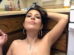 Sexy housewife with big natural boobs sucks and gets titty fucked in the kitchen, and gets her gorgeous face full of cum.