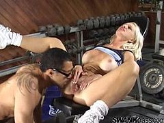 Have fun watching this blonde cougar, with big knockers wearing shorts, while she goes hardcore with a horny fellow and moans like a dirty MILF.