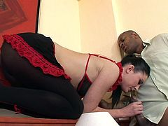 Staggering maid enjoying black dong up her ass