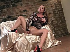 Stunning mistress with perfectly shaped body Silvia Saint lies in big chair bottomless feverishly rubbing her moist shaved cunt. Listen how Silvia moans with joy.
